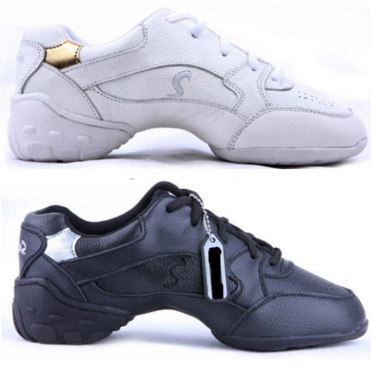 Hot Sale White Black Leather Dance Shoes Sneakers For Woman Sports Practice Shoes Modern Dance Jazz ShoesHot Sale White Black Leather Dance Shoes Sneakers For Woman Sports Practice Shoes Modern Dance Jazz Shoes