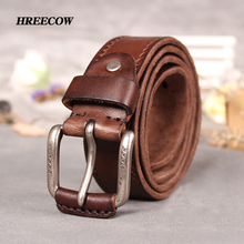 Фотография Ancient Italian 100% top Cow Leather Belts Alloy Buckle genuine leather vintage pin buckle ceinture mens belts