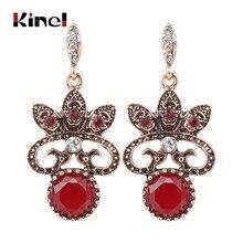 Kinel 2018 nouvelle mode bohême Antique boucle d'oreille en or pour les femmes rouge cristal Vintage bijoux de mariage fête cadeaux livraison directe