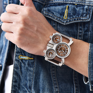 Image 1 - Oulm Mesh Steel 1167 Model Mens Watches 3 Colors 3 Time Zone Unique Male Quartz Watch Casual Sports Men Wristwatch reloj hombre