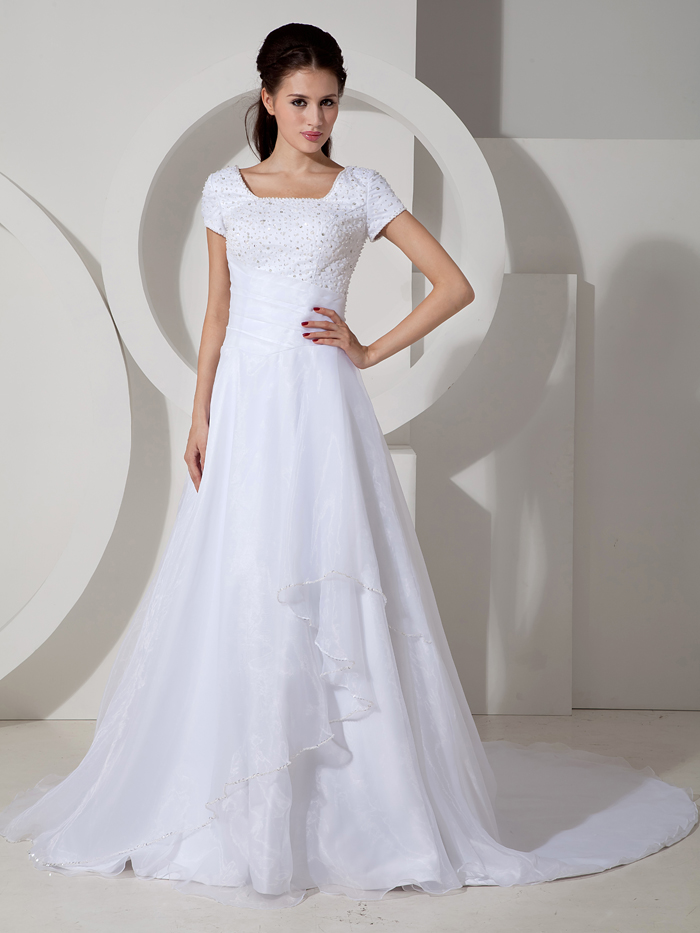 2017 Formal Reception Modest Wedding Dresses With Cap Sleeves Older ...