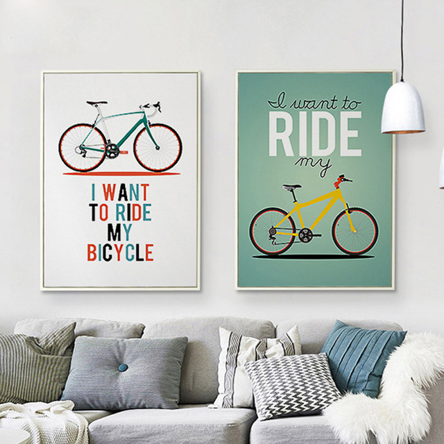 Nordic Sepeda Art Poster Berbasis Warna Solid Simple Surat Kanvas Mural Gambar Hiasan Dinding Untuk