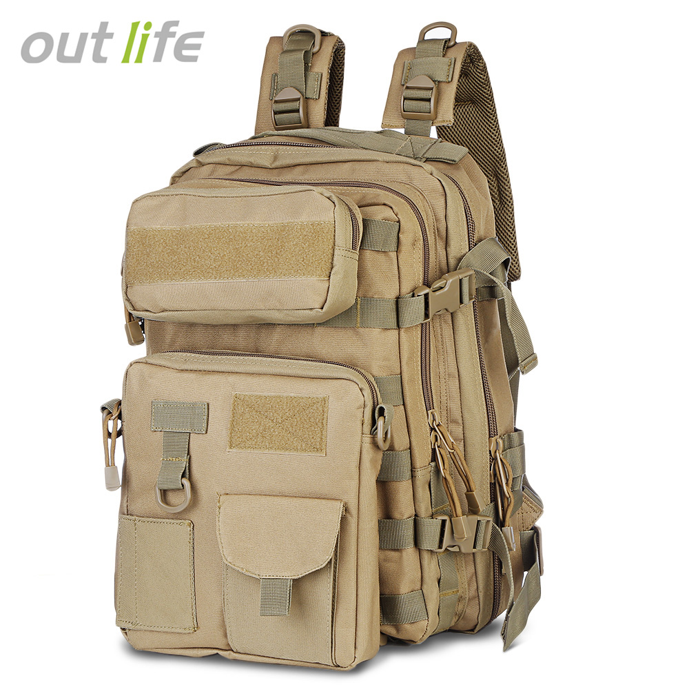 купить Outlife 3 in 1 Military Tactical Assault Pack Backpack Molle Bug Out Bag 30L Military Rucksack Camping Trekking Hiking Backpack недорого