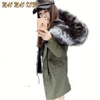 2017 New Fashion women's army green Large raccoon fur collar hooded long coat parkas outwear real fox fur lining winter jacket