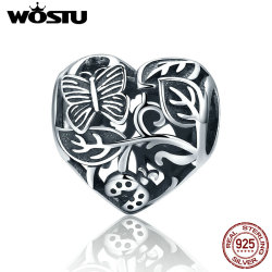 WOSTU Vintage 925 Sterling Silver The Garden After Rain Beads Fit Original WST Charm Bracelet DIY Jewelry Gift CQC155