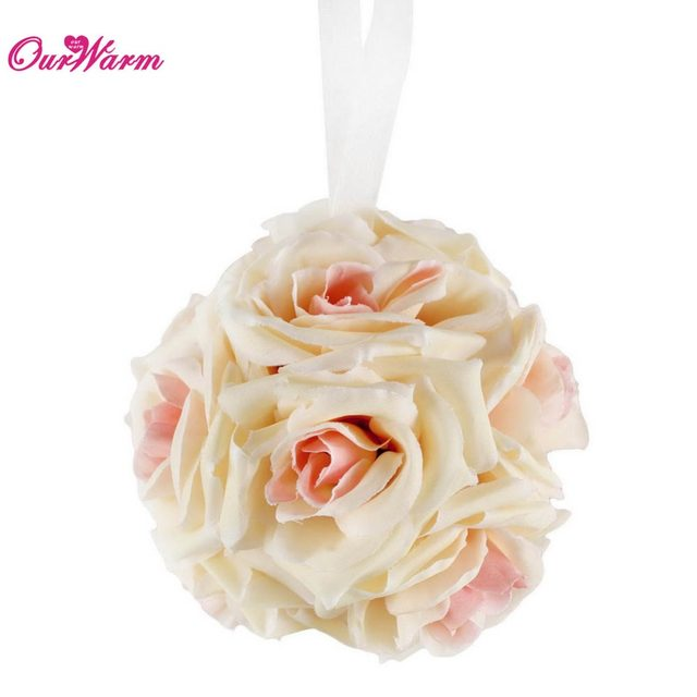 Online Shop Ourwarm Artificial Silk Rose Flower Balls Wedding
