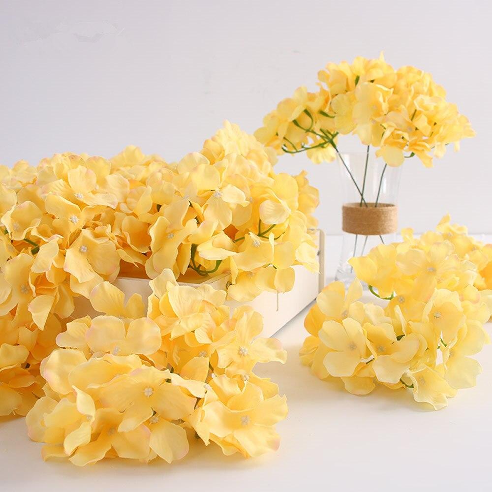 100pcs artificial Silk Hydrangea flower head Ball Chrysanthemum Wedding Path Home Hotel DIY flower wall accessories