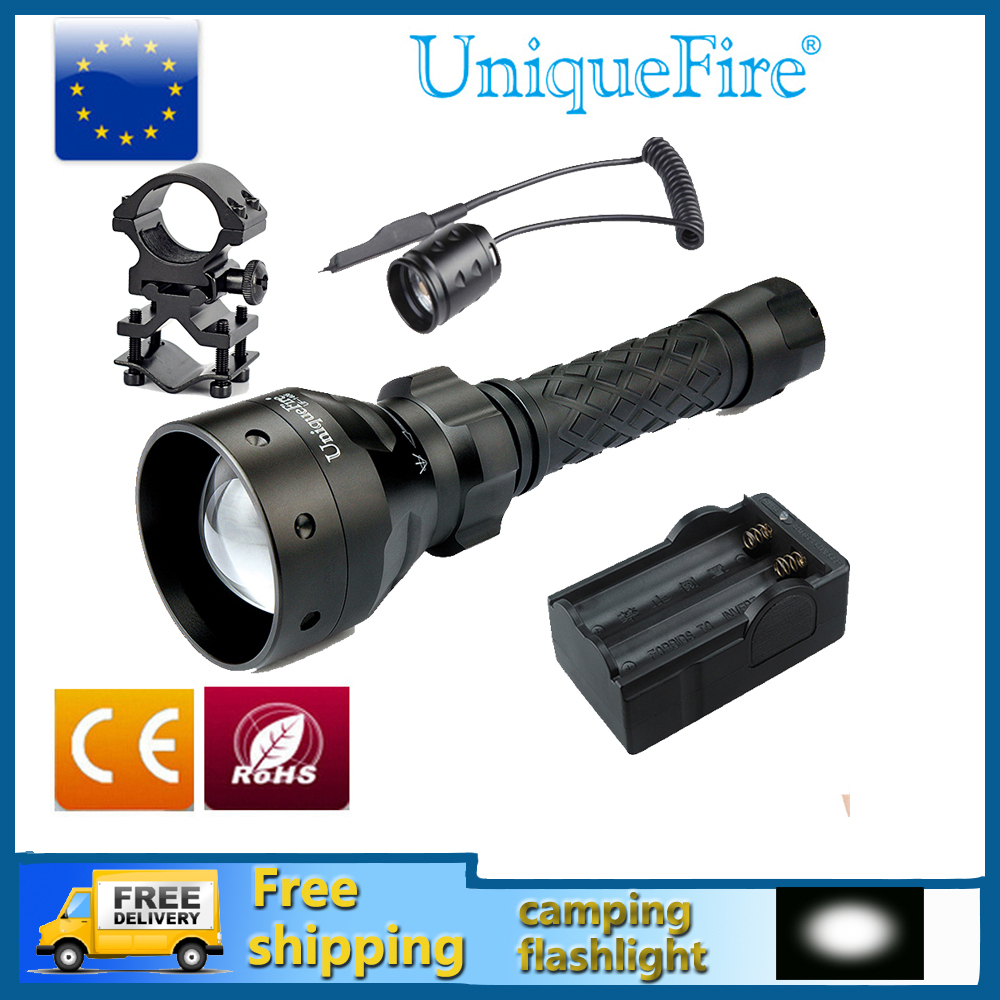 Uniquefire UF 1406 XM L T6 Adjustable LED Flashlight Zoomable 5-Modes Waterproof Lampe Torch+Rat Tail+Charger+Gun Mount