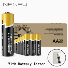 NANFU 20 Pcs AA Batteries LR06 Alkaline Battery 1.5V with Tester for Clock Remote Controller Toys Electronic Device [RU]