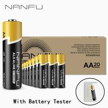 NANFU 20 шт. аккумулятор aa батарейки с батарея тестер 1.5 В щелочной аккумуляторы LR06 2a акб 2100 мАч для камеры игрушечный