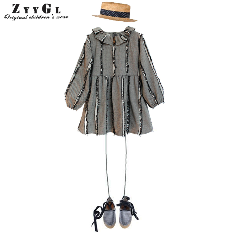 ZYYGL children clothing European and American Style Loose tassels long sleeve children dresses girls new 2017 princess dress american flags pattern extra long scarf with tassels