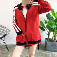American Wind Sports Baseball Suit Zipper Knitted Cardigan Women Hand Sleeves Stripes Coloured Sweaters Winter Clothes Women
