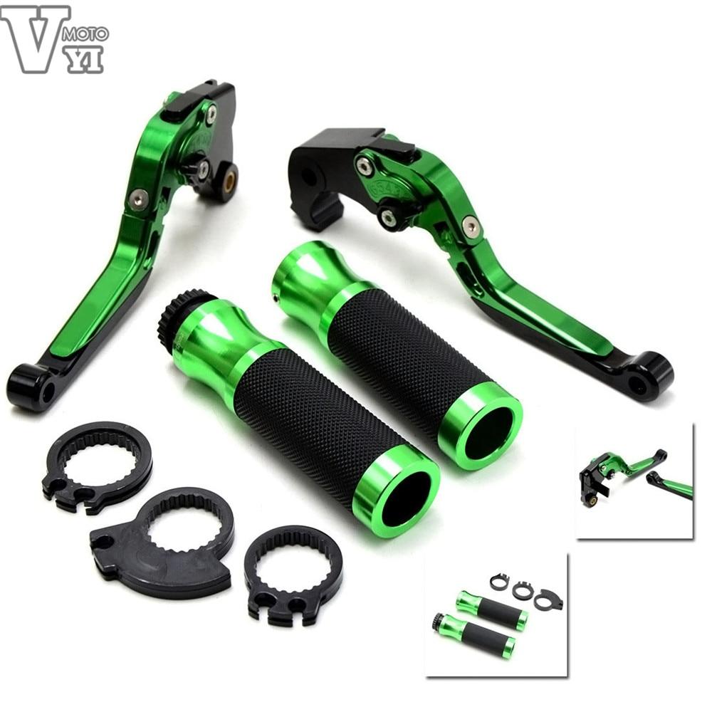 ФОТО motorcycle accessories 22MM handlebar handle bar grips green brake clutch levers For Yamaha TMAX 530 2008 - 2014 year
