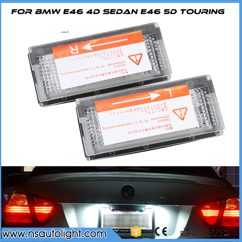 LED license number plate light for BMW E46 4D Sedan  5D touring (98-05) 7000k White Car rear license plate lamp free shipping 2x e marked obc error free 24 led white license number plate light lamp for bmw e81 e82 e90 e91 e92 e93 e60 e61 e39 x1 e84