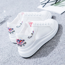 2018 Solid white Flower Embroider adult shoes breathable mesh sneakers women young ladies fashion high quality shoes woman