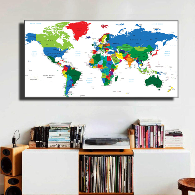 Abstract World Map Postermodern Style Travel Large Colorful Canvas Painting Home Unframed Lz861