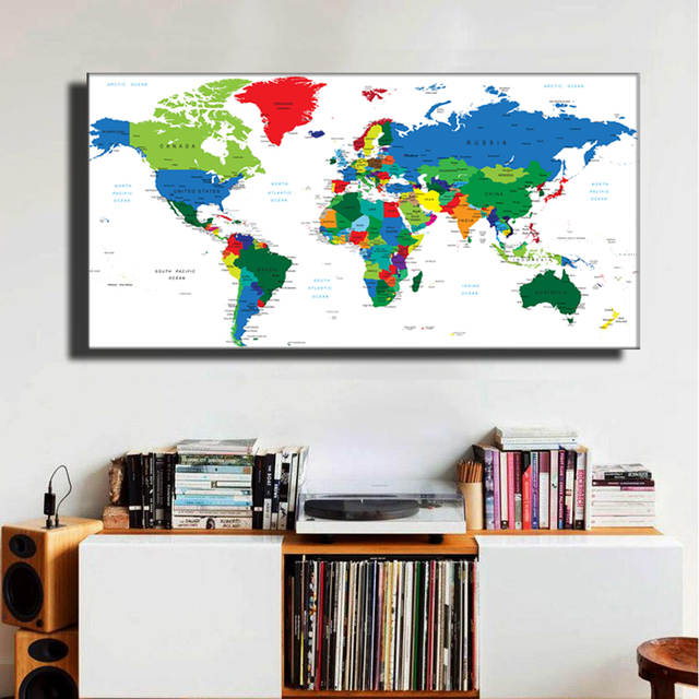 Online Shop Abstract World Map Poster,Modern Style travel large ...
