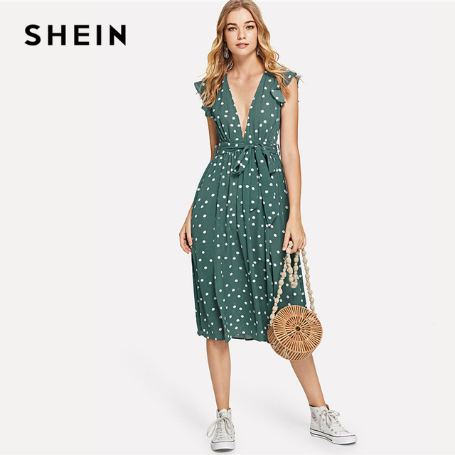 8ab9b9585c SHEIN Green Vacation Boho Bohemian Beach Polka Dot Plunging Neck Ruffle  Armhole Knot Belted Dress Summer Women Casual Dress
