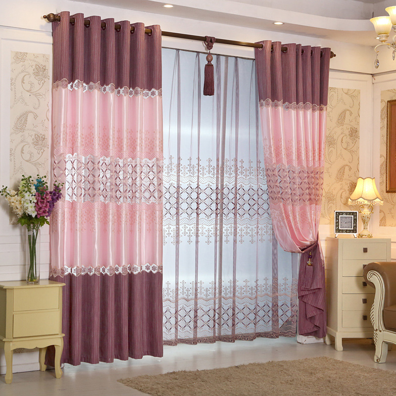 Ready made Window European Luxury Embroidered Voile Curtain Sheer Curtain purple/blue/brown/Tulle Window Curtains for LivingRoom