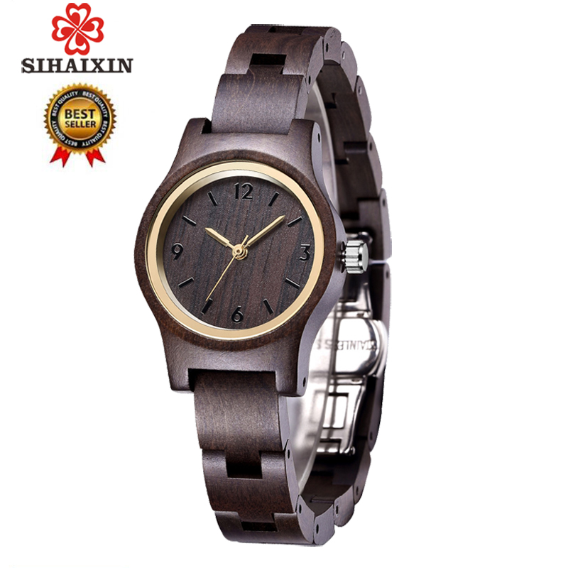 SIHAIXIN Ebony Wooden Watches Women Black Slim Wood Strap Quartz Analog Wrist Watch For Ladies Gift