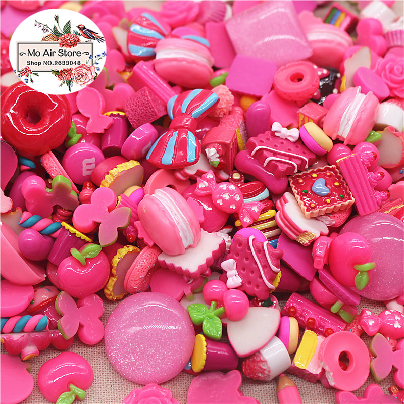 20pcs mix design dessert hot pink color Resin Flat back Cabochon Art Supply Decoration Charm Craft