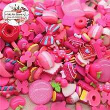 20pcs mix design dessert hot pink color Resin Flat back Cabochon Art Supply Decoration Charm Craft