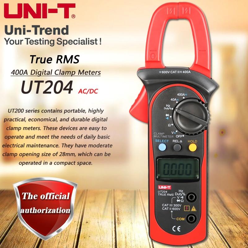 все цены на UNI-T UT204 400A AC DC Digital Clamp Meter Multimeter Resistance / Frequency Test True RMS Relative Measurement Digital Hold