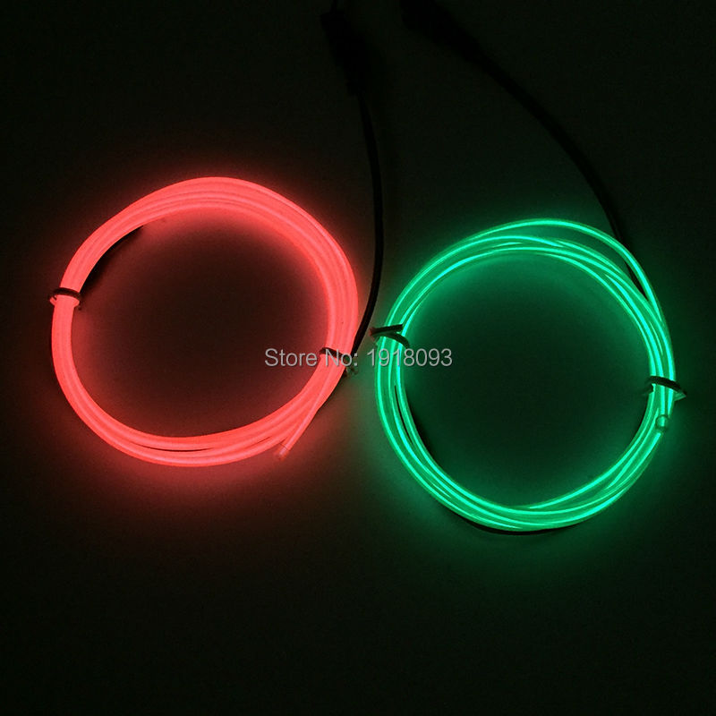 2017 Hot Sales 2pieces 1M 2.3mm EL Wire Set EL wire rope cable Neon glow light with 3V Drive For Wedding,Party decoration
