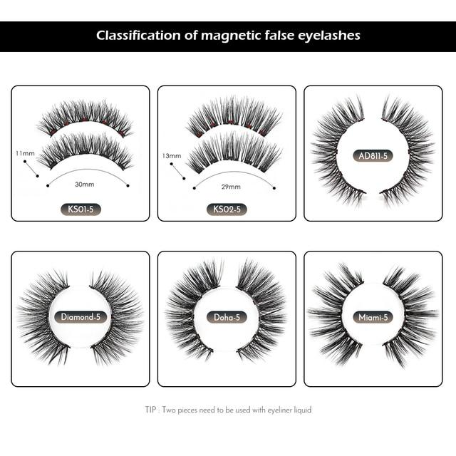 Magnetic False Eyelashes No Glue Full Eye 5 Magnet Reusable Fake Eyelashes Natural Soft Eyelashes Extension Magnetic Eyelash Kit 1