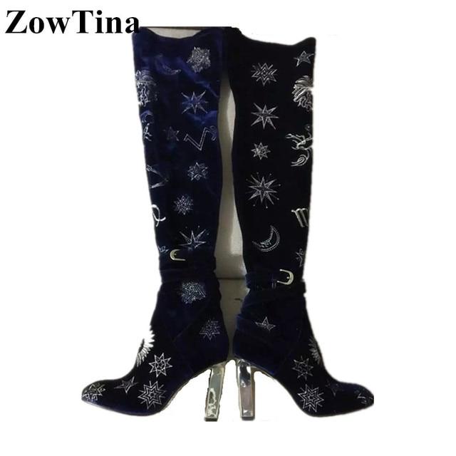 Vogue Frauen Stiefel Schöne Winter Leder Stiefel Mode Quadratische Ferse Weibliche Freizeitschuhe Über Dem Knie Botas Mujer
