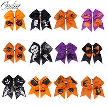 7 Halloween Cheer Bow Glitter Pumpkin Printed Ribbon Handmade Cheerleading Hairbows Girls Party Hair Accessories