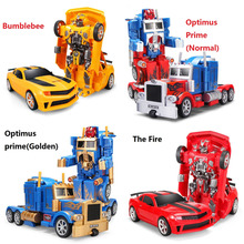 RC Transformation 4 electric Toys one key remote control prime children robot car action figures class Boys Gift