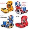 RC Transformation 4 Electric Toys One Key Remote Control Prime Children Robot Car Action Figures Class