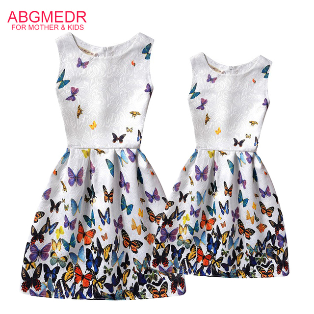 92f8aa1669bc ABGMEDR Brand Mother and Daughter Dress Teenage Girls Colored ...