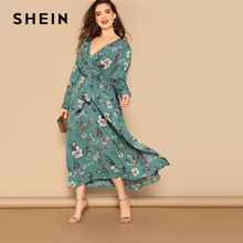 SHEIN Plus Size Multicolor Waist Belted Flower Print Split High Waist Dress Women 2019 Spring V Neck Fit and Flare Maxi Dress