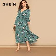 SHEIN grande taille multicolore taille ceinturée imprimé fleur fendu taille haute robe femmes 2019 printemps col en V coupe et Flare Maxi robe