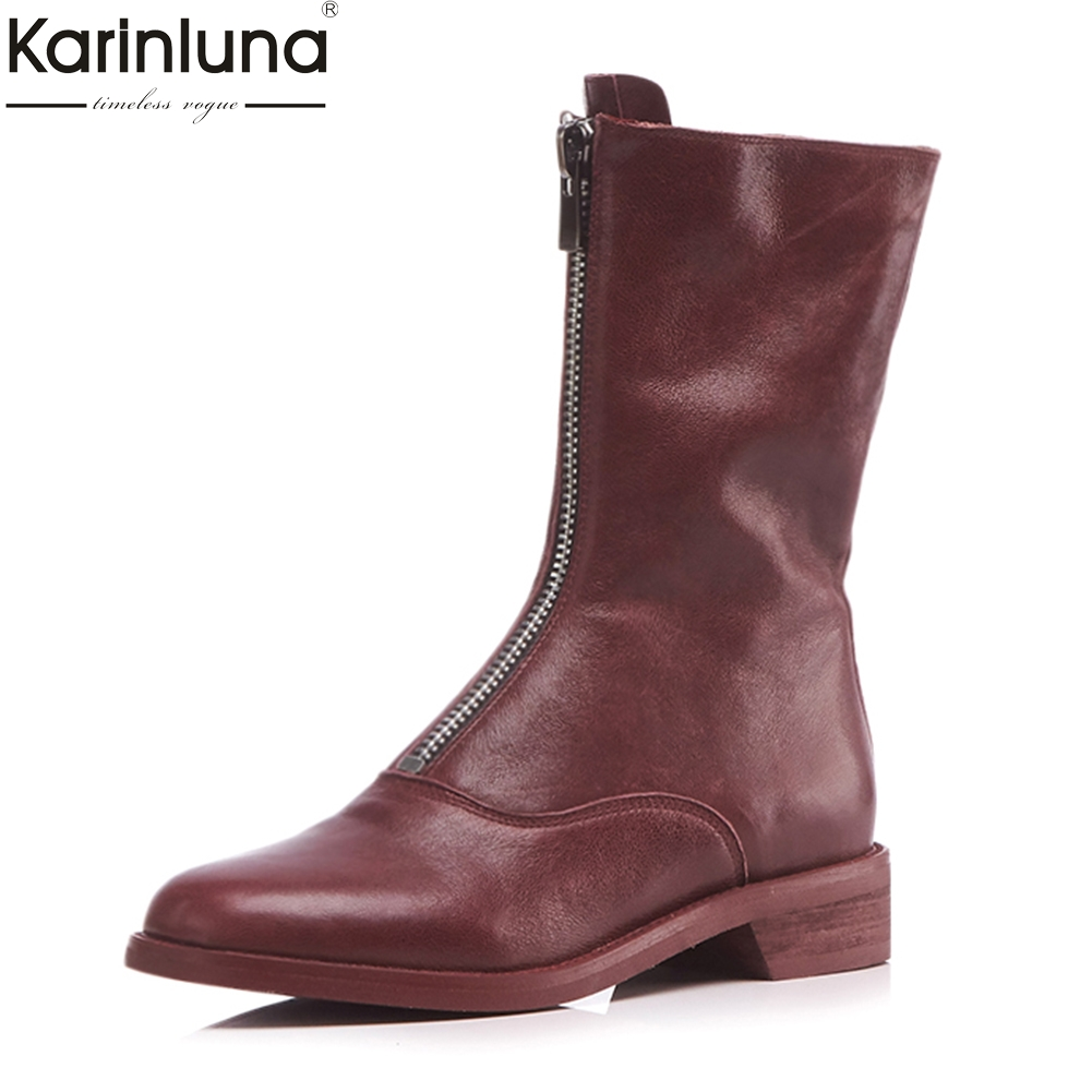 KarinLuna 2018 brand design FULL sheepskin genuine leather large sizes 34-43 woman mid-calf boots fashion womens shoes