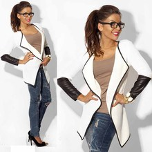 New Fashon Women Outwear Tops Winter and Autumn's Black and White Female Long Sleeve Jacket Coat Cardigan Tops Plus Size WDC06