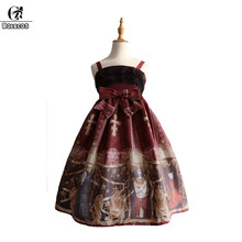 Фотография ROLECOS 2018 Steampunk Lolita Dress For Women Classical Printing Strap Dress Female High Waist Suspenders With Lace Bowknot JSK