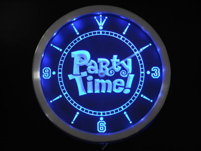 Nc0361 Party Time Happy Hour Bar Beer Room Neon Sign LED Wall Clock