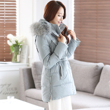 Fur Collar Womens Down Coat 2016 Winter Cotton Down Jacket Women Long Coat Parkas Thicken Slim Female Hooded Warm Clothes