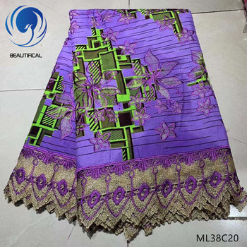 BEAUTIFICAL purple lace fabric wax lace guipure fabrics 6yards/lot cotton wax fabric with free shipping high quality ML38C07-30