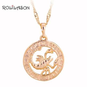 cf65e8260458 12 Constellation ronda Scorpio diseño brillante tono de oro de joyería de  moda collar colgantes para
