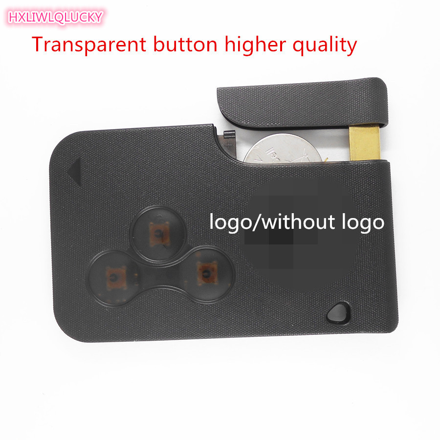 HXLIWLQLUCKY Automobiles Key Transparent FOB 3 Button ForRENAULT Megane Card Key With Pcf7947 Chip Free Shipping