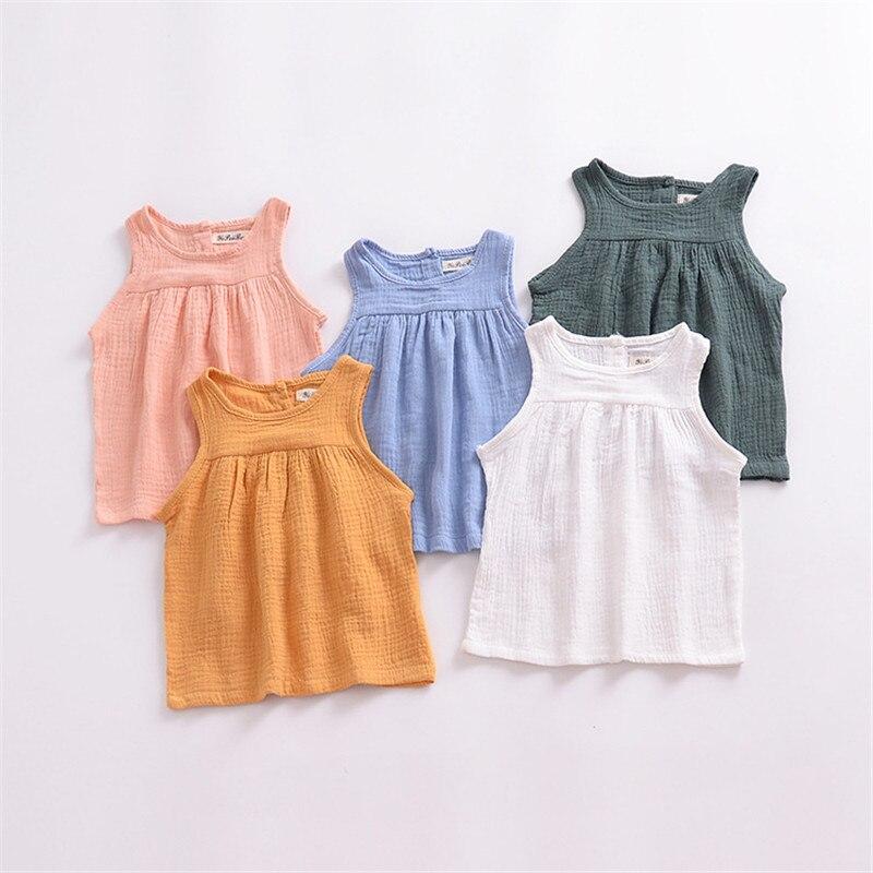 100% Katoen Kleurrijke Mouwloze Baby Meisjes Jongens T-shirts 0-24months Zomer Kinderkleding Kinderen Tops Pasgeboren Baby Uitloper