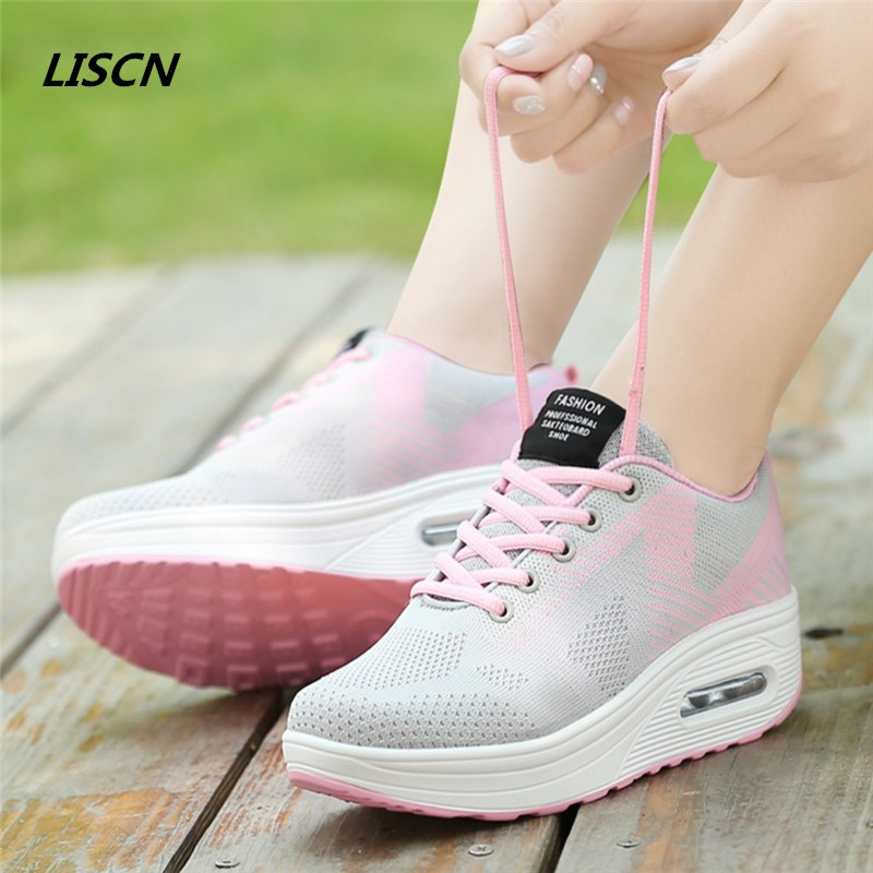 Women Casual shoes 2018 fashion spring Air Mesh flats lace up ladies shoes woman sneakers tenis feminino casual shoes zapatos