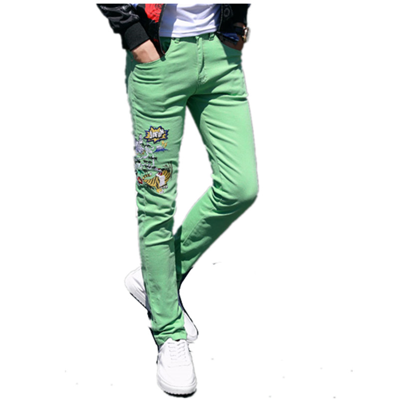 2019 New fashion Trendy Mens Skinny Stretch Denim Pants Distressed Frayed   Jeans   printing Embroidered Trousers Chic Streetwear