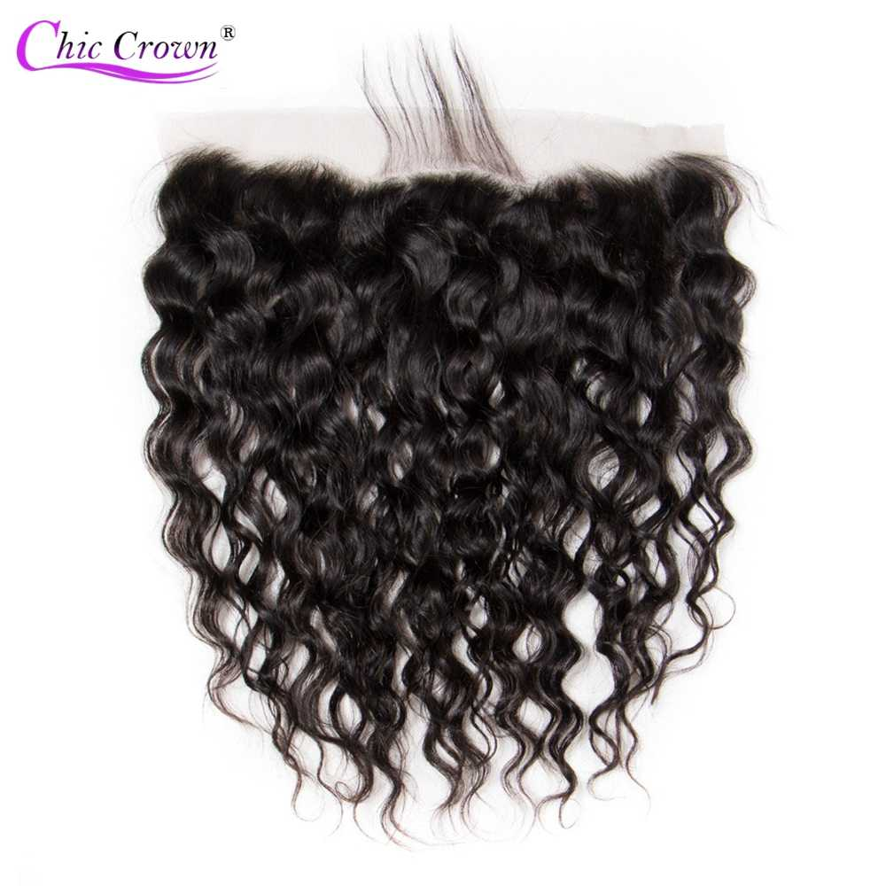 Brazilian Water Wave Lace Frontal Pre Plucked Ear To Ear 13x4 Lace Frontal Closure Natural Color Chic Crown Non Remy Human Hair