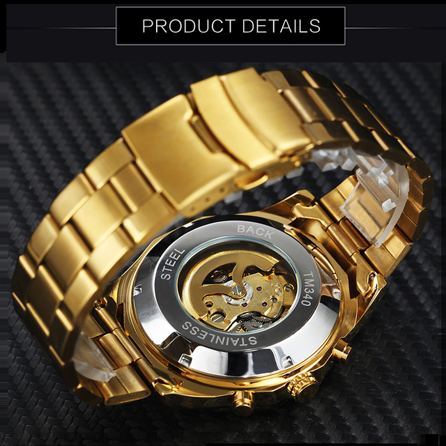 WINNER Classic Golden Skeleton Mechanical Watch Men Stainless Steel Strap Watches Top Brand Luxury Vip Drop Shipping Wholesale 4
