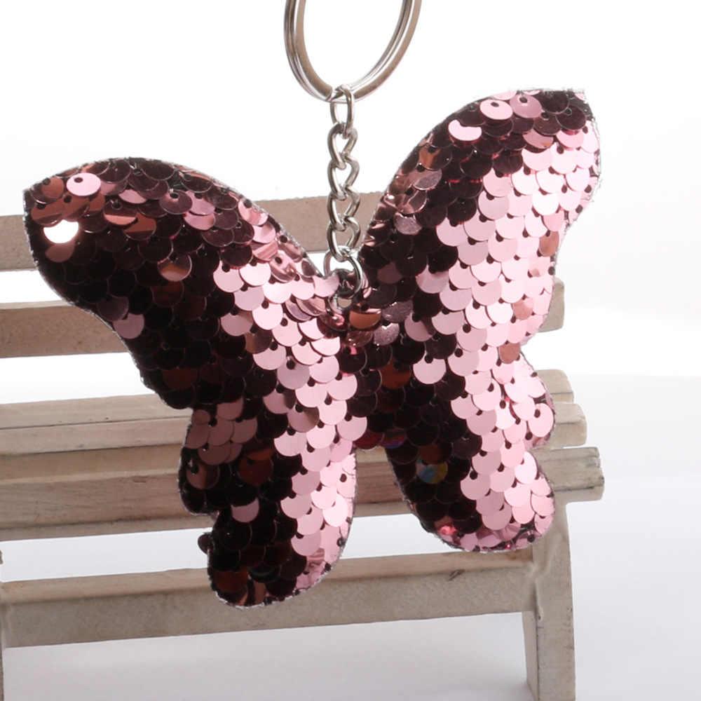 LLavero de mariposa de lentejuelas favores de fiesta lentejuelas brillantes artesanías colgante regalo de fiesta de cumpleaños decoración de coche niña bolsa adornos niños juguete